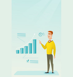 successful businessman pointing at chart going up vector image