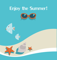 summer background with seabeachsunglasses vector image