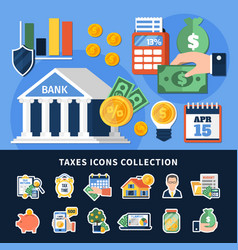 taxes icons collection vector image