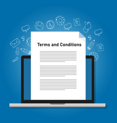 Terms and conditions paper document on laptop vector