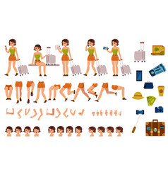 tourist woman creation kit - set of different body vector image