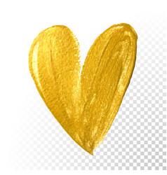 Valentine heart gold paint brush on white vector