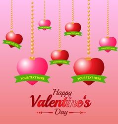 Valentines Day Heart and Ribbon on Pink Background vector image