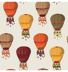 Vintage seamless pattern of hot air balloons vector