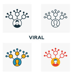 viral icon set four elements in diferent styles vector image