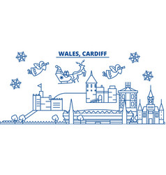 Wales cardiff winter city skyline merry vector