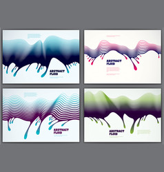 wave lines fluid abstract backgrounds set 3d vector image