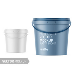White matte plastic bucket mockup with label vector