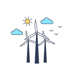 windmills color linear vector image