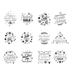 Winter holidays discounts concepts set vector