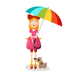 woman in pink clothes with parasol and dog vector image