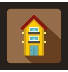 Yellow two storey house icon flat style vector image