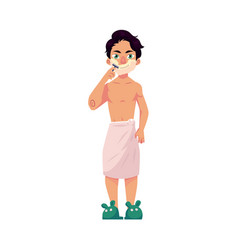 Young man shaving his face morning hair removal vector