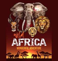 african safari poster with wild animals sketches vector image vector image