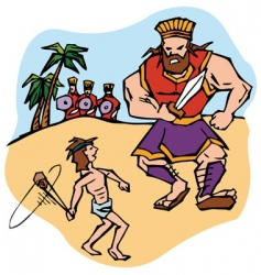 David and Goliath vector image vector image