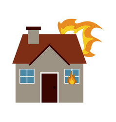 house on fire icon image vector image