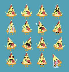pizza character emoji set vector image vector image