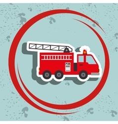 truck fireman rescue fire vector image