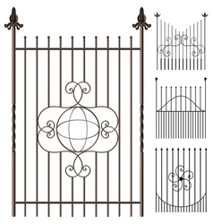 Wrought iron fence set vector image vector image