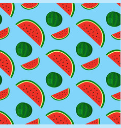 cartoon fresh watermelon fruits in flat style vector image vector image