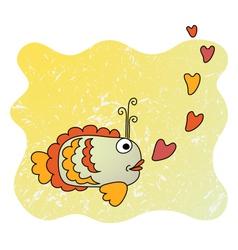 Cute cartoon fish in love vector image vector image