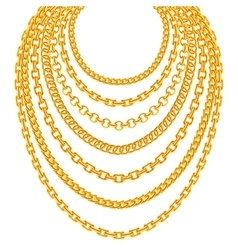 Golden metallic chain necklaces set vector image vector image