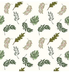 Hand drawn seamless leaves pattern vector image vector image