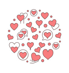 red hearts round creative vector image