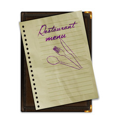 restaurant menu notebook with paper vector image vector image