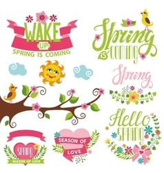 Spring time decor setBirdflowerslettering tree vector image