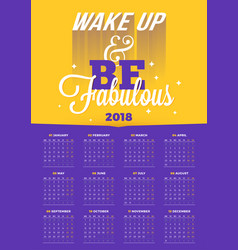 wall calendar poster for 2018 year with vector image