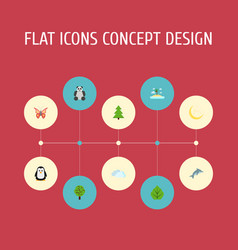 Flat icons foliage sky wood and other vector