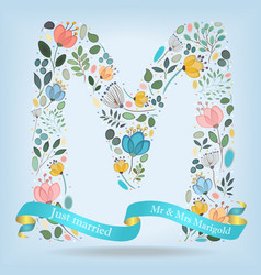 floral letter m with blue ribbon vector image