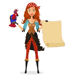 pirate girl with scroll and a parrot vector image