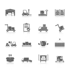 Warehouse icons black vector image vector image