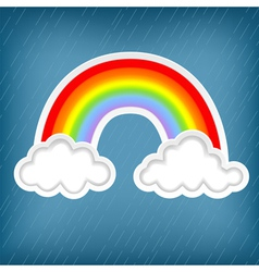 clouds with rainbows vector image