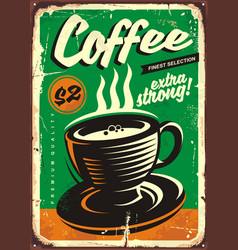 coffee vintage tin sign vector image vector image