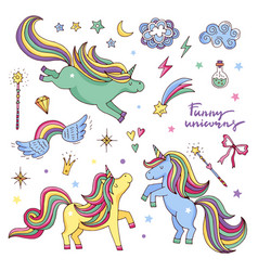 funny set with rainbow unicorn and other vector image