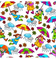 girl with umbrellas vector image