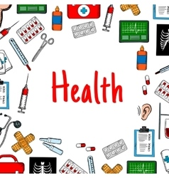 Health care poster with medical icons vector image