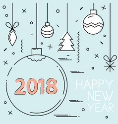 new year 2018 and christmas flat line design vector image