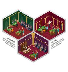 three casino isometric interior compositions vector image
