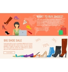 Two banners online shopping and woman shoe sale vector image vector image