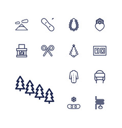 13 winter icons vector