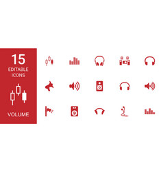 15 volume icons vector image