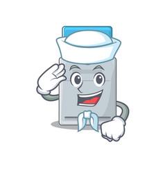A mascot design key card sailor wearing hat vector