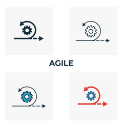 Agile icon set four elements in diferent styles vector