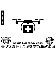 Ambulance Drone Flat Icon With 2017 Bonus Trend vector