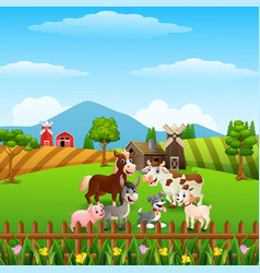 Animals farm in the hills vector
