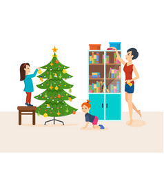 apartments are cleaned preparing for the new year vector image